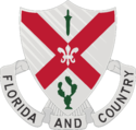 The shield is white, the old Infantry color. The saltire is taken from the Florida State flag.  The sheathed sword, from the Spanish War service medal, represents service during that war.  The cactus symbolizes service on the Mexican Border, and the fleur-de-lis, service during World War I.[1]
