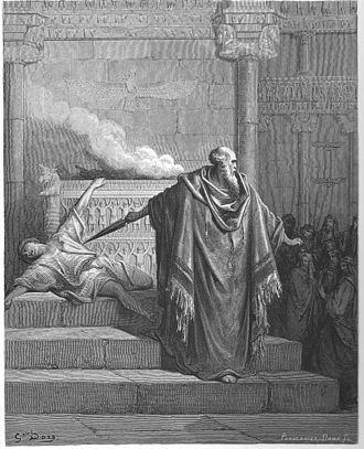 Hasmonean dynasty - Mattathias of Modi'in killing a Jewish apostate, engraving by Gustave Doré