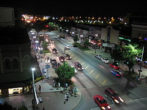 Downtown Lincoln at night (14th and O Streets)