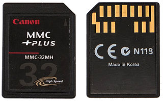 MultiMediaCard memory card standard used for solid-state storage.