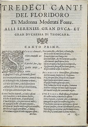 Moderata Fonte - An early page in a 1581 edition of Fonte's poetry.