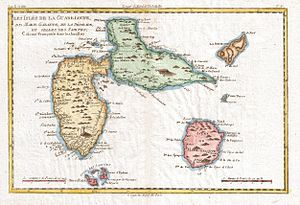 Chevalier de Saint-Georges - 1780 Raynal and Bonne Map of Guadeloupe, West Indies