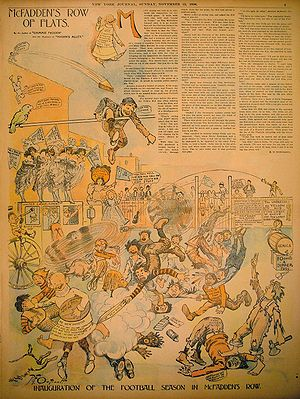 The Yellow Kid - A year and a half later Outcault was drawing the Yellow Kid for Hearst's New York Journal in a full-page color Sunday supplement as McFadden's Row of Flats. In this 15 November 1896 Sunday panel, word balloons have appeared, the action is openly violent and the drawing has become mixed and chaotic.