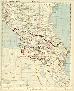 A 1918 map of the Caucasus by the British Army. The highlighted sections show the successor states of the TDFR, which claimed roughly the same territory.[1]