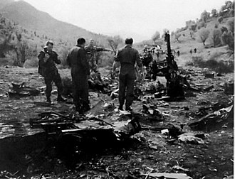 1994 Black Hawk shootdown incident - U.S. military personnel inspect the wreckage of one of the two American UH-60 Black Hawks shot down in the 1994 Black Hawk shootdown incident in northern Iraq.