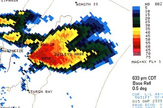Upper Great Lakes severe weather outbreak of August 23, 1998 - Doppler Radar Image of the tornadic Door County supercell.