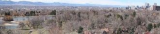 Washington Park, Denver - A view of Washington Park set against the Rocky Mountains and downtown Denver