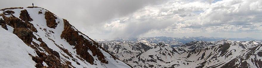 Panoramic view of Mount Elbert in June