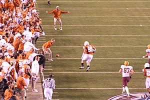 Texas Longhorns football under Mack Brown - The 2007 Holiday Bowl included a controversial play where Mack Brown's stepson and other Texas personnel were on the field.