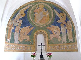 Church frescos in Denmark - Sealand-type Romanesque Christ in Majesty at Alsted.