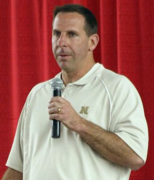 Bo Pelini - Pelini delivers the address at the 2008 Columbus Area Chamber of Commerce Dinner in Columbus, Nebraska on April 29, 2008.