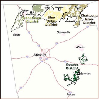 Chattahoochee-Oconee National Forest - General map of the Chattahoochee-Oconee National Forest.