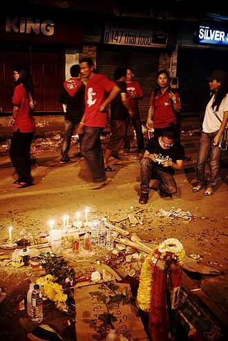 2010 Thai military crackdown - A makeshift shrine on the spot where a protester was shot