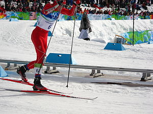 Bill Demong - Bill Demong skating to victory in the 10 km individual large hill event at the 2010 Winter Olympics.
