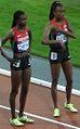 2012 Olympic steeplechase start-Cheywa, Njoroge.JPG
