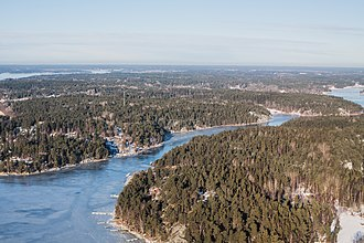 Central Swedish lowland - Joint valley terrain seen in wintertime Stockholm archipelago.
