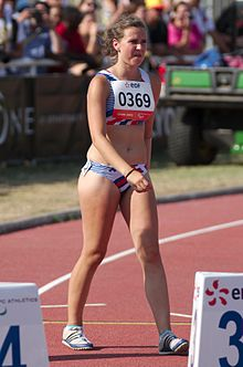 2013 IPC Athletics World Championships - 26072013 - Tereza Jakschova of Czech Republic preparing for the Women's 100m - T46 second semifinal 1.jpg