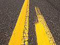 2014-08-29 12 58 13 Fresh yellow road paint laid on top of old and weather white road paint on Tabernacle-Chatsworth Road (Burlington County Route 532) in Woodland Township, New Jersey.JPG