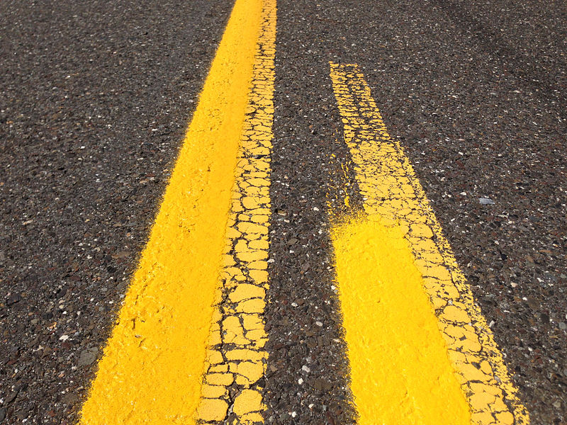 File:2014-08-29 12 58 13 Fresh yellow road paint laid on top of old and weather white road paint on Tabernacle-Chatsworth Road (Burlington County Route 532) in Woodland Township, New Jersey.JPG