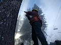 2016. Forest Pathologist Betsy Goodrich drills a tree with an electric drill to inspect internal decay. Snoqualmie Summit ski resort. Mt. Baker-Snoqualmie National Forest, Washington. (38918872041).jpg