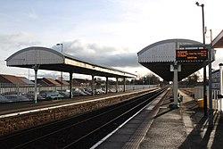 2018 at Gobowen station - platform canopies.JPG