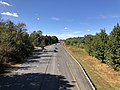 2019-10-10 14 16 50 View west along the eastbound lanes of Maryland State Route 32 (Patuxent Freeway) from the overpass for Shaker Drive in Columbia, Howard County, Maryland.jpg