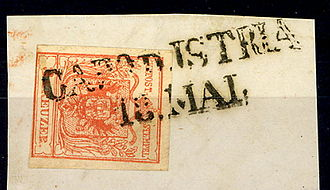 Koper - CAPO d'ISTRIA on a 3 kreuzer stamp of the 1850 issue