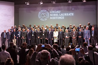 Lindau Nobel Laureate Meetings - Group shot of the 65 Nobel Laureates who attended the 65th Lindau Nobel Laureate Meeting in summer of 2015 and German President Joachim Gauck as well as Countess Bettina Bernadotte, President of the Council for the Lindau Nobel Laureate Meetings. Photo: Ch. Flemming/Lindau Nobel Laureate Meetings.