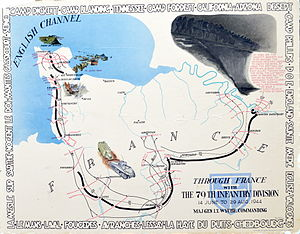 "79th Infantry Division (United States) - ""Through France; 14 Jun - 29 Aug 1944"" poster 1 of 4 of battle movements of the 79th Infantry Division."