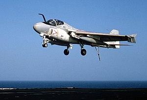 A-6E VA-34 landing on USS America (CV-66) 1983.JPEG