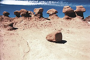 Goblin Valley State Park - A naturally fallen hoodoo, not the vandalized one