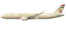 Artist impression of side view of jet aircraft in airline livery
