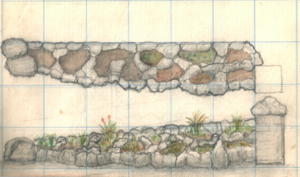 Algernon Phillips Withiel Thomas - Algernon Thomas' design for a rock garden at the entrance to the new Auckland Grammar School building, about 1916.