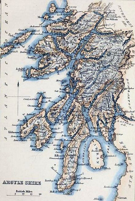 La carte du comté dans «The Imperial gazetteer of Scotland»; vol. I; par le Rév. John Marius Wilson