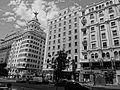 A Black and white photograph of building at Gran Via, Madrid Spain 033.JPG