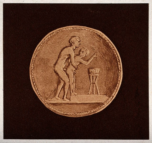 File:A Graeco-Roman coin depicting sexual intercourse between a m Wellcome V0038922.jpg