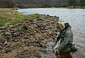 A Spey ghillie unhooks a salmon kelt on the Rothes Beat. - geograph.org.uk - 338436.jpg