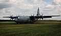 A U.S. Air Force C-130J Super Hercules aircraft taxis on an unimproved runway at Powidz Air Base, Poland, Aug. 25, 2014, during a mission as part of the Poland Off-station Training Deployment, a 2-month Air 140825-F-UE958-050.jpg