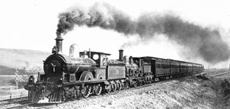 North East railway line - New A 398 leads a B class up Glenroy Bank on the Sydney Express, circa 1900