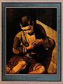 A beggar boy picking a flea from the seam of his shirt. Colo Wellcome V0019954.jpg