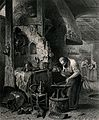A blacksmith hammers at a piece of metal on his anvil as he Wellcome V0039513.jpg