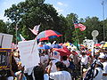 A day without immigrants - protesters, flags, news truck.jpg