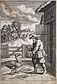 A peasant coming out of a barn is showing an egg to a goose; Wellcome V0023047ER.jpg