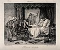 A physician examining a person dressed as Pierrot who lies i Wellcome V0016139.jpg