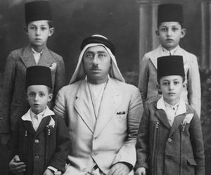 Abd al-Rahim al-Hajj Muhammad - Al-Hajj Muhammad and his four sons, Kamal (the eldest), Abd al-Jawad, Abd al-Karim and Jawdat in Damascus, early 1937