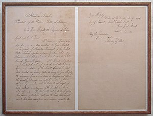"Taikun - Letter of Abraham Lincoln to ""Tycoon"" Tokugawa Iemochi, announcing the departure of Townsend Harris. 14 November 1861."