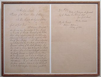 Tokugawa Iemochi - Letter of Abraham Lincoln to shōgun Tokugawa Iemochi announcing the departure of Townsend Harris. 14 November 1861.