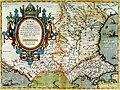 Abraham Ortelius after Jacobo Castaldi - Romaniae, (quae olim Thracia dicta) vicinarvmqe regionum, vti Bvlgariae, Walachiae, Syrfiae, etc. descriptio.jpg