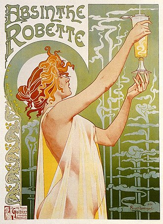 Alcohol advertising - An 1896 advertisement for Absinthe Robette by Henri Privat-Livemont
