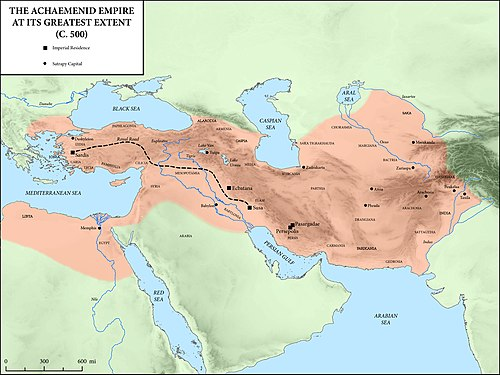 The Achaemenid Empire at its greatest extent, c. 500 BC Achaemenid Empire at its greatest extent according to Oxford Atlas of World History 2002.jpg